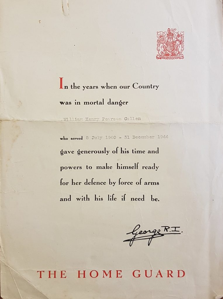 Home Guard Certificate