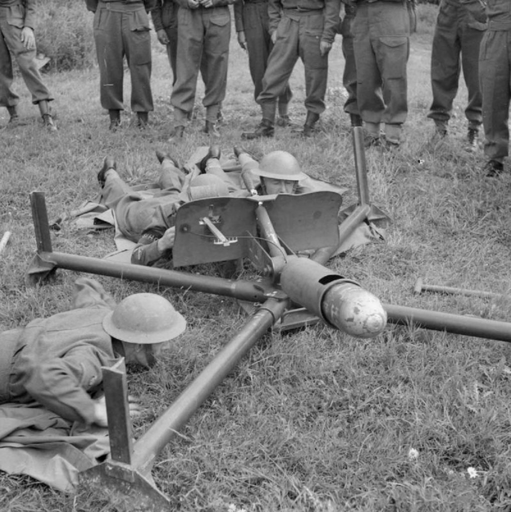 © IWM (H 12299) IWM Non Commercial Licence Men of the Saxmundham Home Guard prepare to fire a 'Blacker Bombard' during training, 30 July 1941.